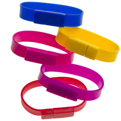 Image of Printed Silicon Wristband USB Memory Stick. Available In Loads Of Bright Colours