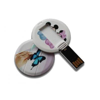 Image of Printed Round Mini Card USB Memory Sticks. Oblong Shape Also Available