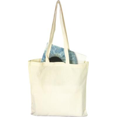 Image of Printed Natural Cotton Bag with long handles,Great For Shopping And Exhibitions
