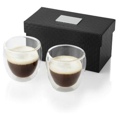Image of Promotional 2 Piece double walled Espresso Set presented in luxury gift box with logo plate