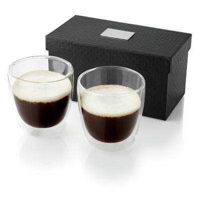 Image of Promotional 2 Piece glass Coffee Set. Presented in a luxury gift box with logo plate.