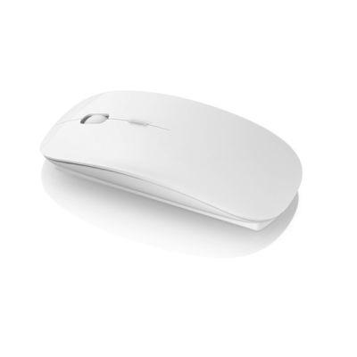 Image of Branded Menlo Wireless Mouse. Bright White Computer Mouse.