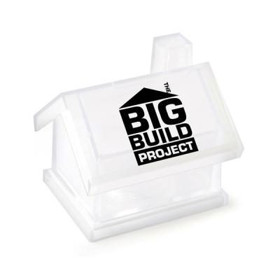 Image of Printed House Shape Money Box - RED BLUE WHITE TRANSPARENT