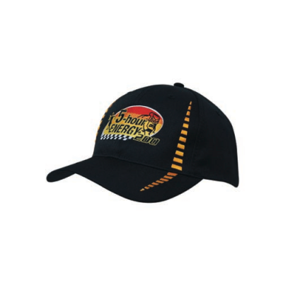 Image of Printed Custom Design Baseball Cap-Poly/Twill 6 Panel Baseball Cap, Colours: black/gold, black/red, black/white, navy/white