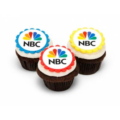 Image of Promotional Logo Cupcakes With Full Colour Edible Topper. Individually Wrapped
