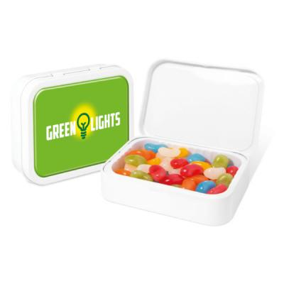 Image of Promotional Jelly beand in full colour branded tin - White Sweet Tin Jelly Beans