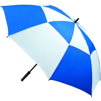 Image of Promotional Fibreglass Vented Golf Umbrella - Royal and White