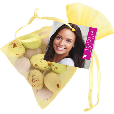 Image of Promotional Easter Standard Organza Bag with Chocolate Mini Eggs