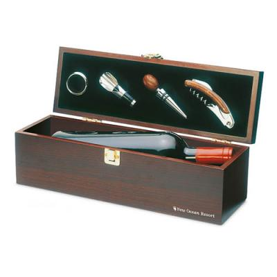 Image of Engraved Wooden Gift Box With Luxury Wine Set