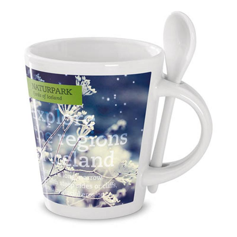 Sublimation mug with spoon :: Mugs :: PromoBrand Promotional