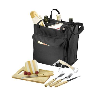Image of Promotional Modesto picnic carrier with 2 compartments for food and wine. Includes cutting board, knives forks and wine opener.