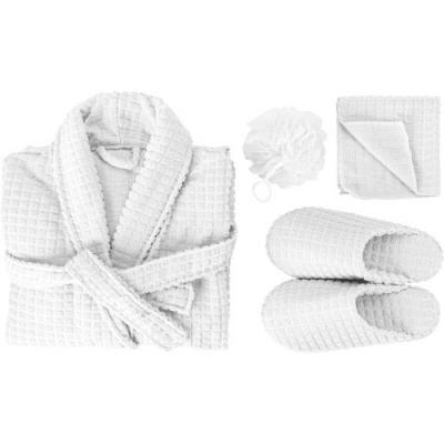 Image of promotional waffle wellness set with bathrobe, wash cloth and slippers. Presented folded with ribbon.