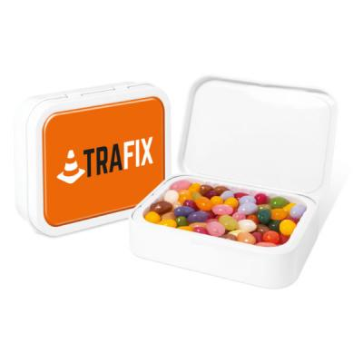 Image of Promotional White Sweet Tin With The Jelly Bean Factory Jelly Beans Sweets