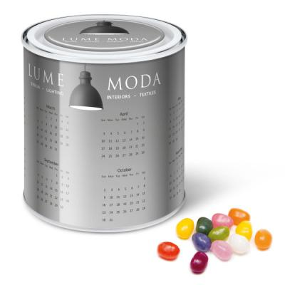 Image of Promotional Calendar Tin Filled With The Jelly Bean Factory Jelly Beans Sweets