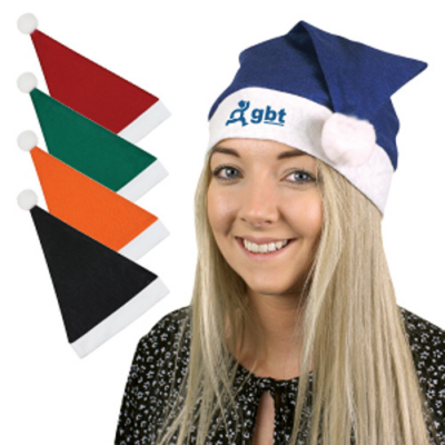 Image of Promotional Christmas Santa Hat Available in black,red,green,orange,blue