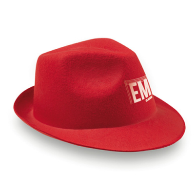 Image of Promotional Red Felt Christmas Hat, Fedora Style Hat
