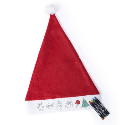 Image of Promotional Kids Red Santa Hat With Colouring Band & Crayons