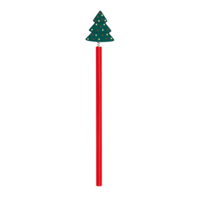 Image of Promotional Red Christmas Pencil With Xmas Tree Topper