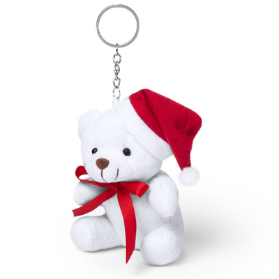 Image of Promotional Christmas Teddy Bear Keyring With Santa Hat