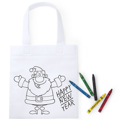 Image of Promotional Kids Christmas Colour In Santa Bag & Crayons