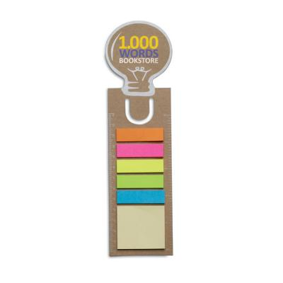 Image of Promotional Eco Light Bulb Shaped Bookmark With Sticky Notes