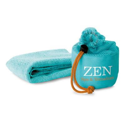Image of Promotional Sport Towel- Multi Purpose Fitness Towel In Breathable Mesh Pouch (Mink)