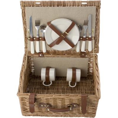 Image of Promotional willow Picnic basket for 2 people. Includes plates, cutlery and mugs.