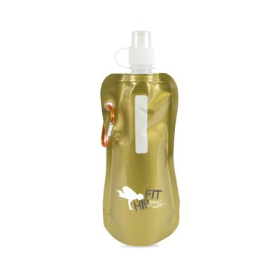 Image of Printed Metallic Fold Up Water Bottle. 400Ml Metallic Reusable Roll Up Water Bottle