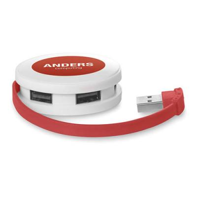 Image of Branded Round 4 port USB hub. Great Print Area. Express Service Available