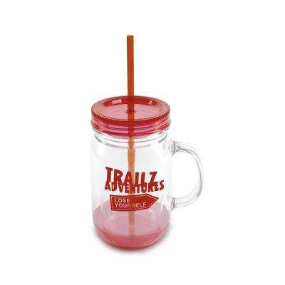 Image of Printed Mason Drinking Jar With Straw BPA Plastic