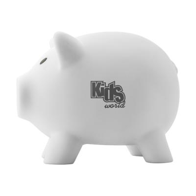 Image of Promotional PVC Plastic piggy bank. White Piggy Bank