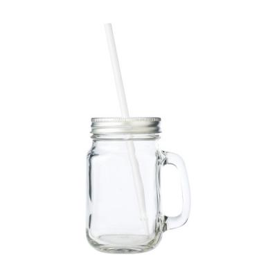 Image of Promotional Glass Mason Drinking Jar With Lid