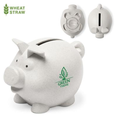 Image of Promotional Eco Wheat Straw Fibre Piggy Money Bank