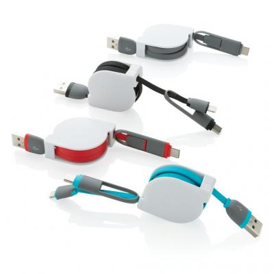 Image of Promotional 3 in 1 Retractable Charging Cable