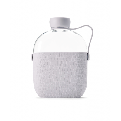 Image of Printed Hip Flask Water Bottle Cloud Grey