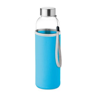 Image of Promotional Glass Bottle With Turquoise Soft Touch Pouch 500ml