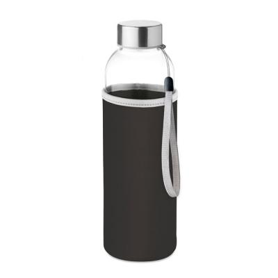 Image of Branded Glass Bottle With Black Soft Touch Pouch 500ml