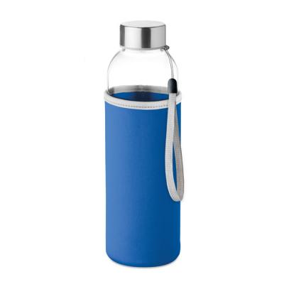 Image of Promotional Glass Bottle With Royal Blue Soft Touch Pouch 500ml
