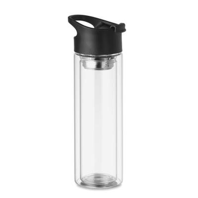 Image of Promotional Borosilicate Double Walled Glass Bottle Wiyh Tea Infuser
