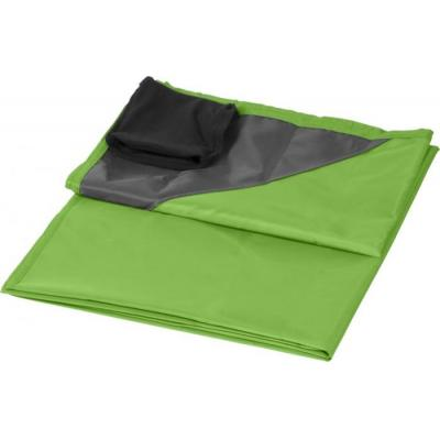 Image of Printed Picnic Blanket With Pouch Lime Green