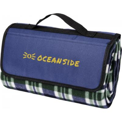 Image of Promotional Blue Tartan Picnic Blanket With Handle And Pocket