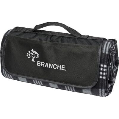 Image of Printed Black Tartan Picnic Blanket With Handle And Pocket