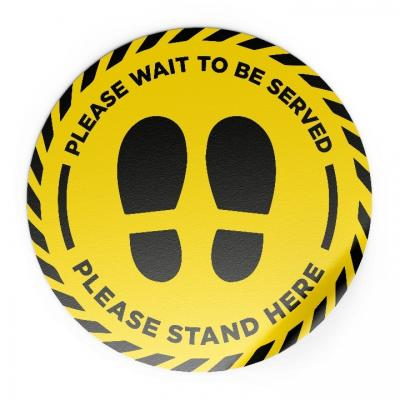 Image of Promotional Please Wait To Be Served Please Stand Here Social Distancing Floor Sticker