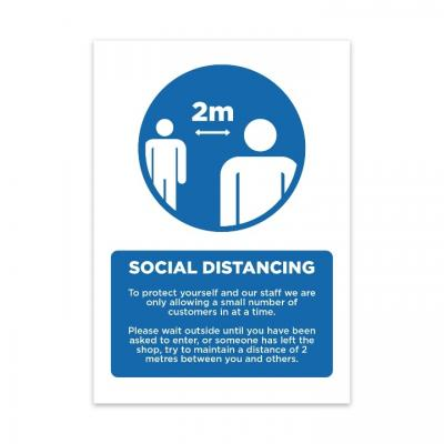 Image of Printed Social Distancing Poster Sign