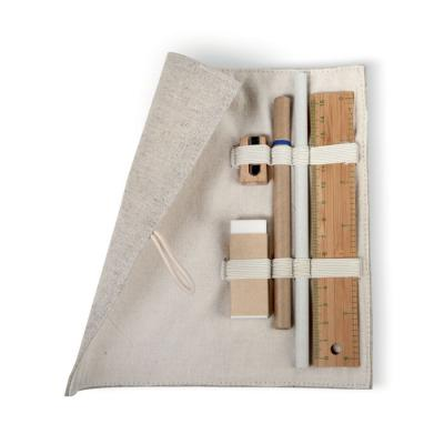 Image of Promotional Eco Jute, Bamboo And Wood Stationary Set