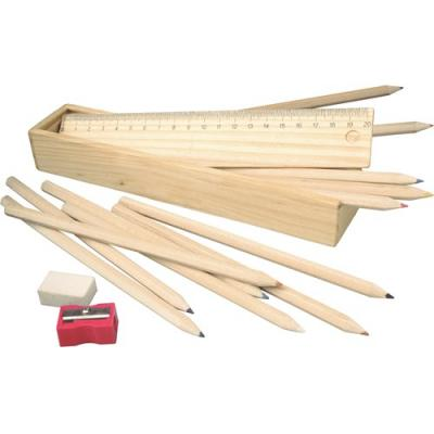 Image of Promotional Traditional Wooden School Stationary Set