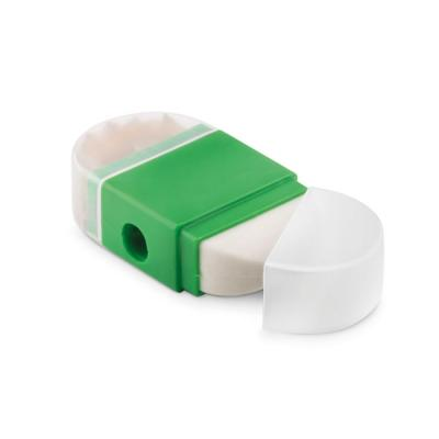 Image of Printed 2 In 1 Rubber Eraser And Sharpener Green