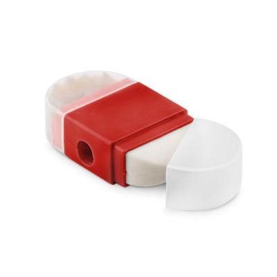 Image of Promotional 2 In 1 Rubber Eraser And Sharpener Red