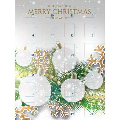 Image of Branded Desk Top Chocolate Advent Calendar Pre Designed - Christmas Bauble