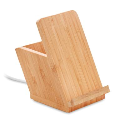 Image of Promotional Bamboo Wireless Charger With Pen Holder